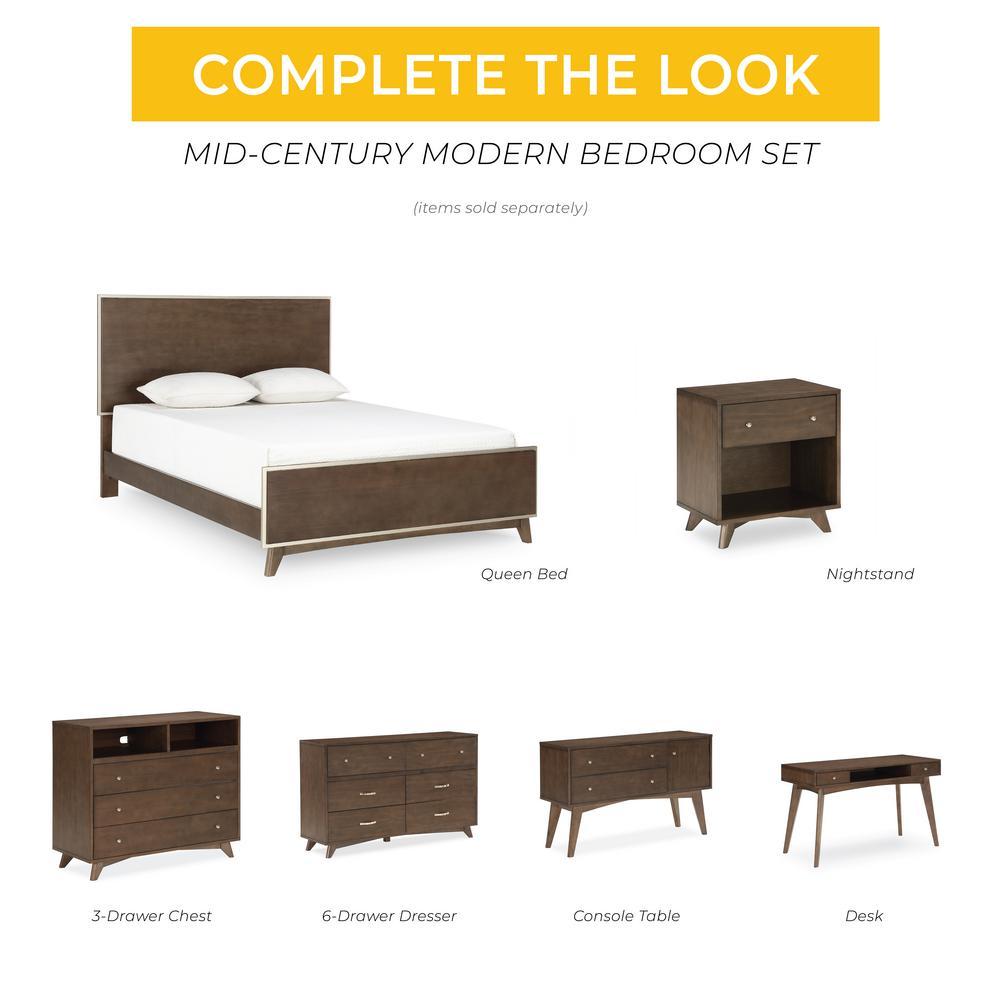 Novogratz Otis Queen Dark Walnut Mid Century Modern Queen Bed Frame Dl8417qb The Home Depot,Best Shutter Colors For Brick House