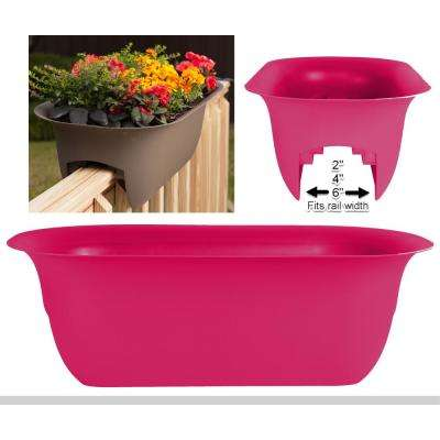 24 x 8.75 Amaranth Modica Plastic Deck Rail Planter