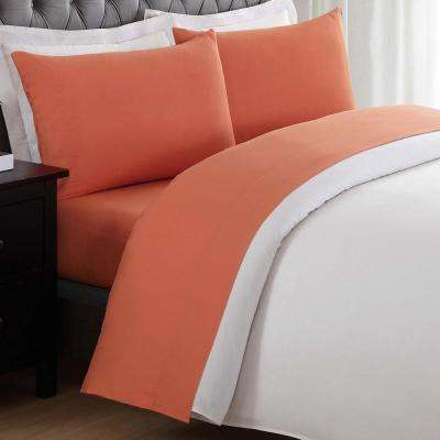 Anytime Orange Twin Sheet Set