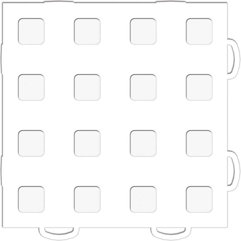 WeatherTech TechFloor 6 in. x 6 in. White/White Vinyl Flooring Tiles (Quantity of 10)