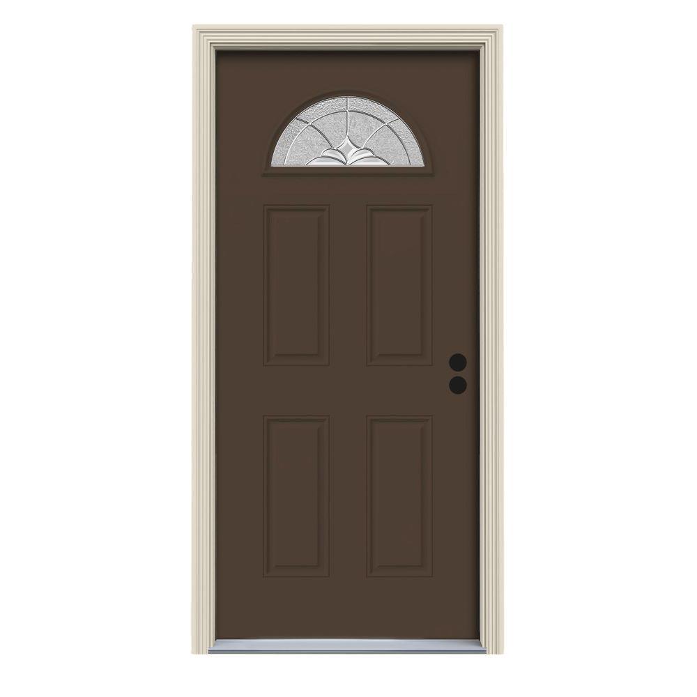 32 in. x 80 in. Fan Lite Langford Dark Chocolate Painted Steel Prehung Left-Hand Inswing Front Door w/Brickmould