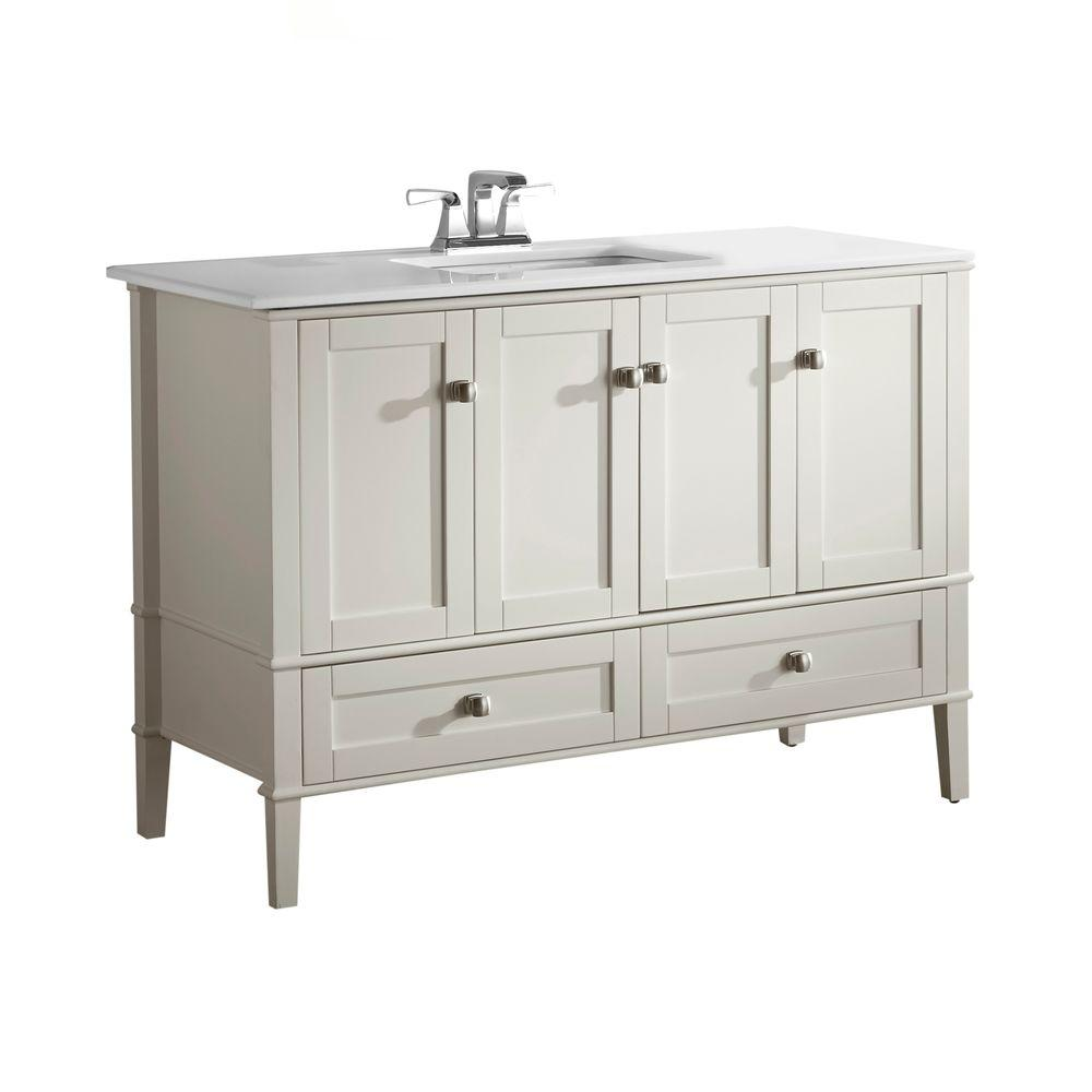simpli home chelsea 48 in vanity in soft white with quartz marble vanity top in