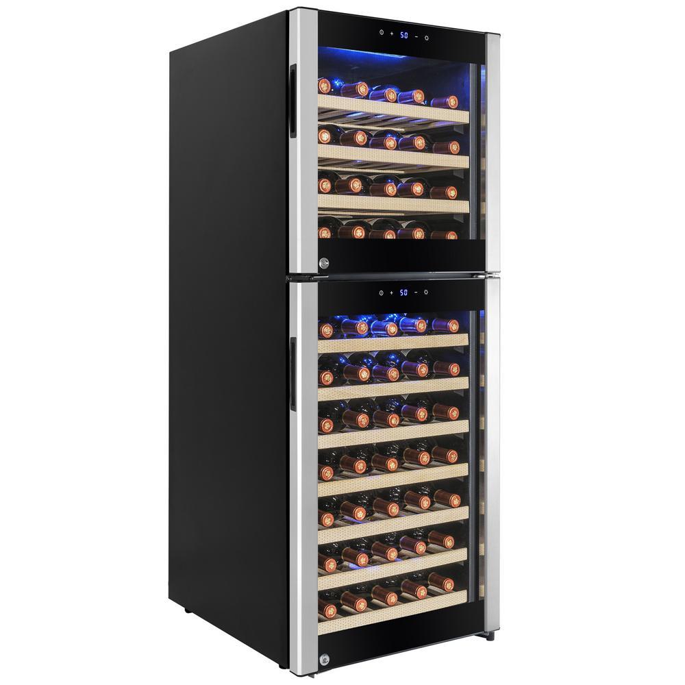 AKDY 19.5 in. 73-Bottle Compressor Wine Cooler, Silver/Black