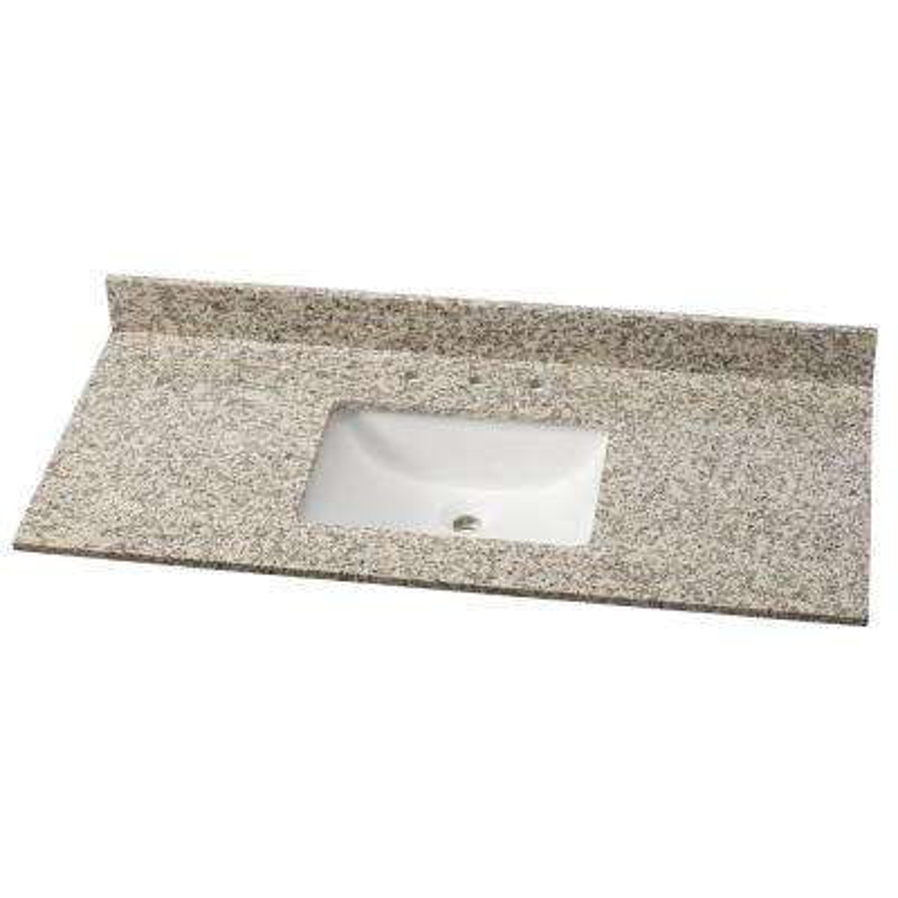 49 in. W Granite Single Vanity Top in Blanco Perla with White Basin