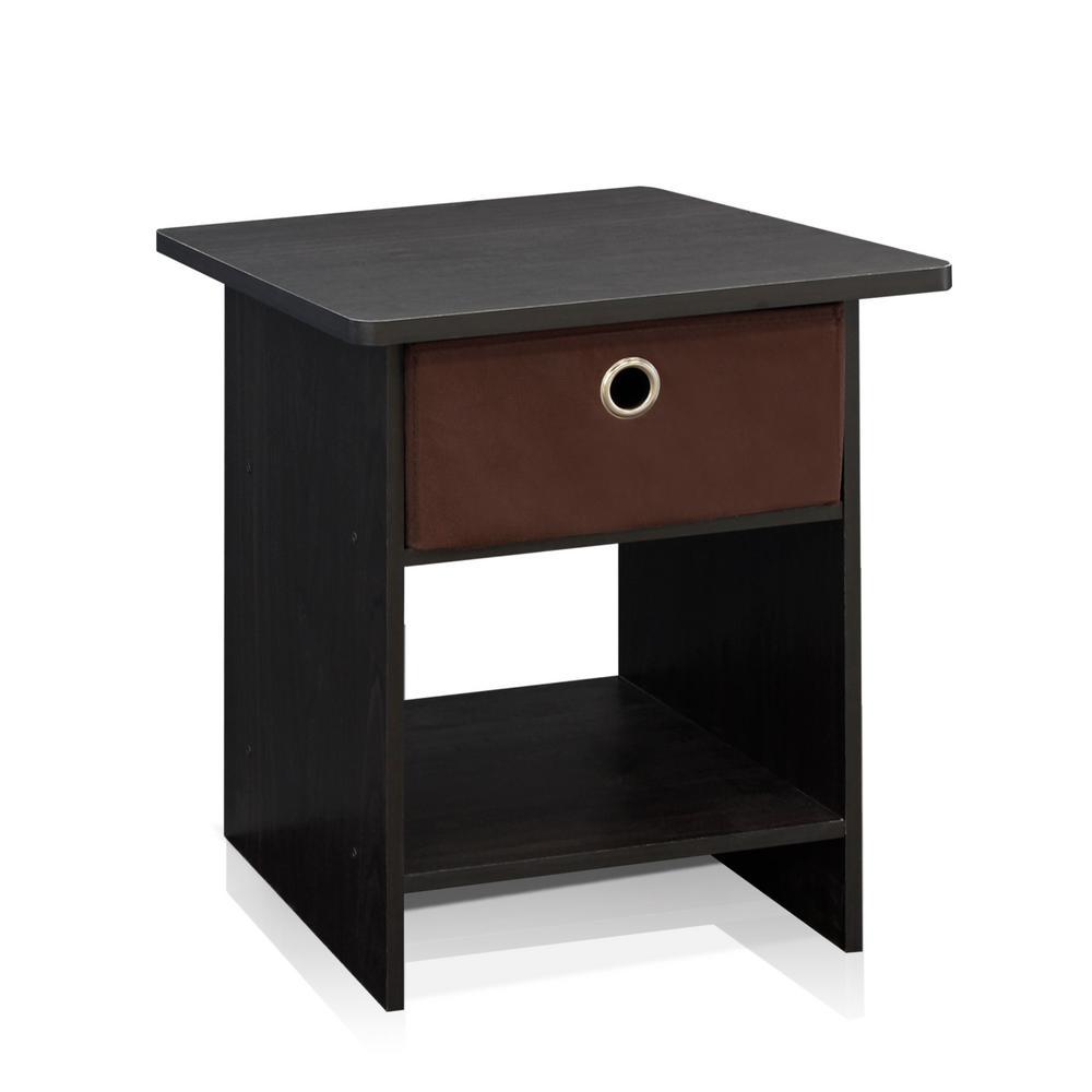 EX Home Espresso Bin Drawer End Table