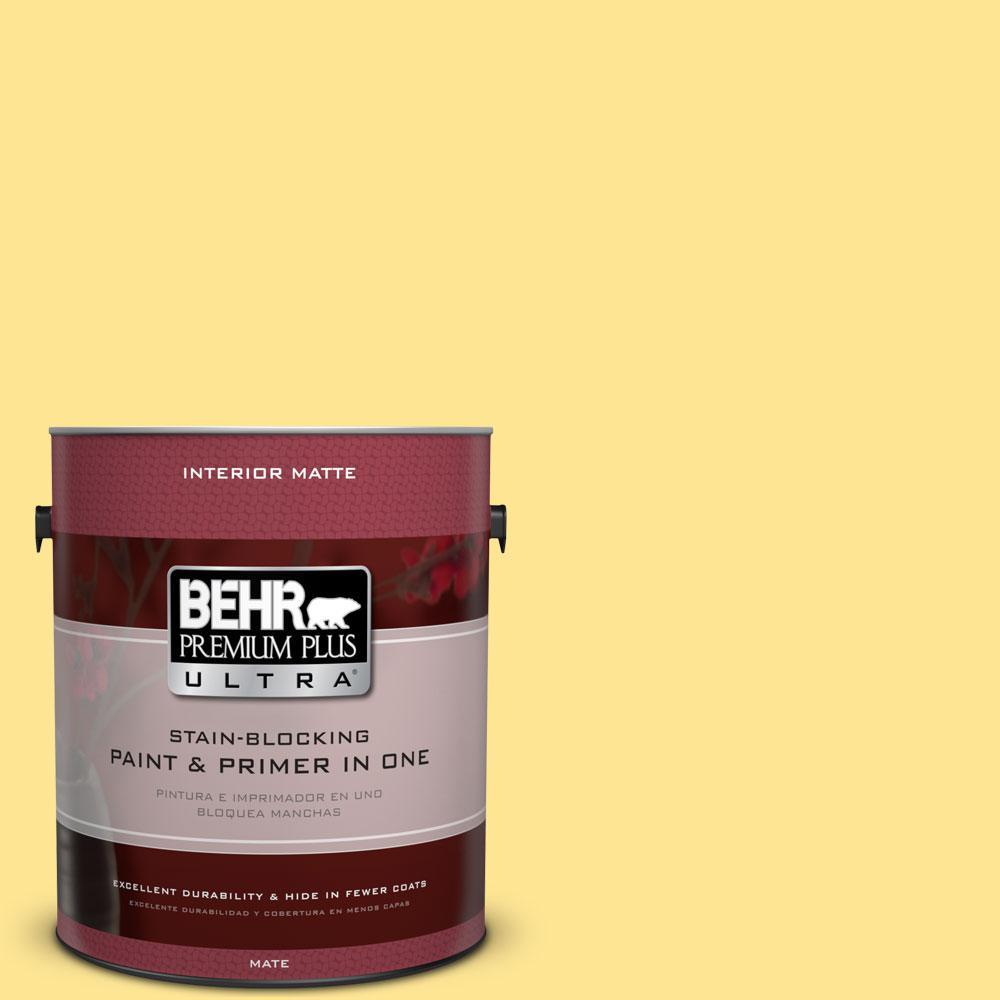BEHR Premium Plus Ultra 1 gal. #390B-4 Chilled Lemonade Flat/Matte Interior Paint