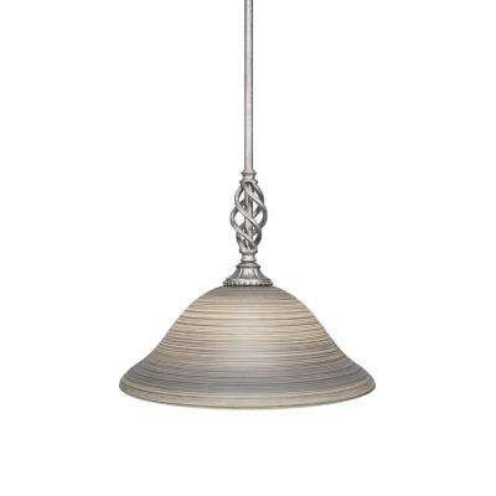 1-Light Aged Silver Pendant