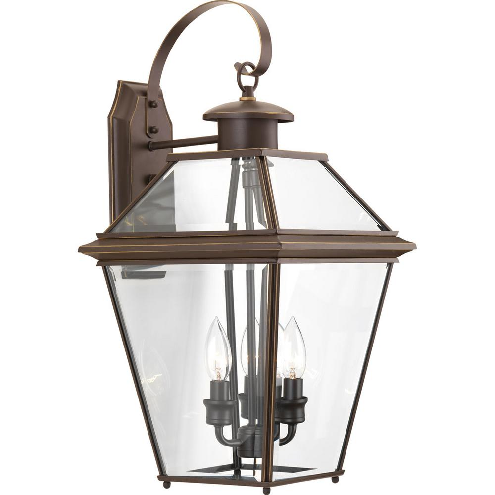 Progress Lighting Burlington Collection 3 Light 21 9 In Outdoor Antique Bronze Wall Lantern Sconce