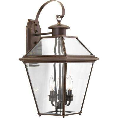 Burlington Collection 3-Light 21.9 in. Outdoor Antique Bronze Wall Lantern Sconce