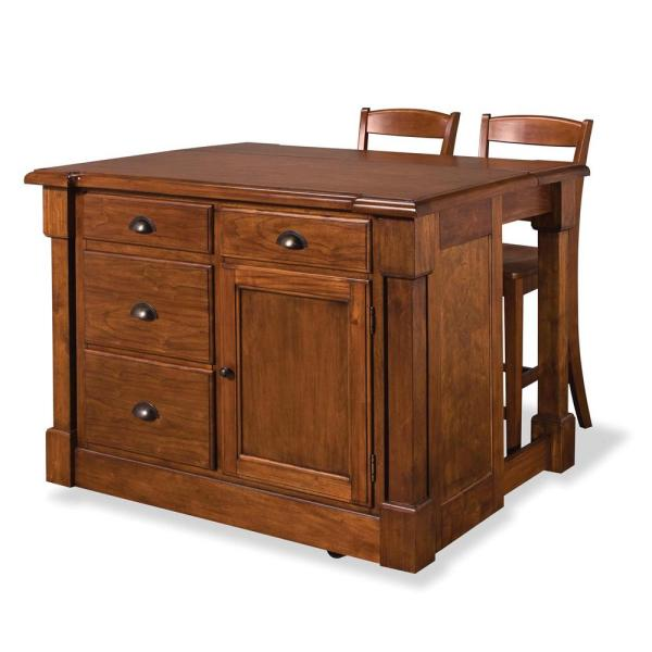 Home Styles Aspen Rustic Cherry Kitchen Island With Seating 5520-949
