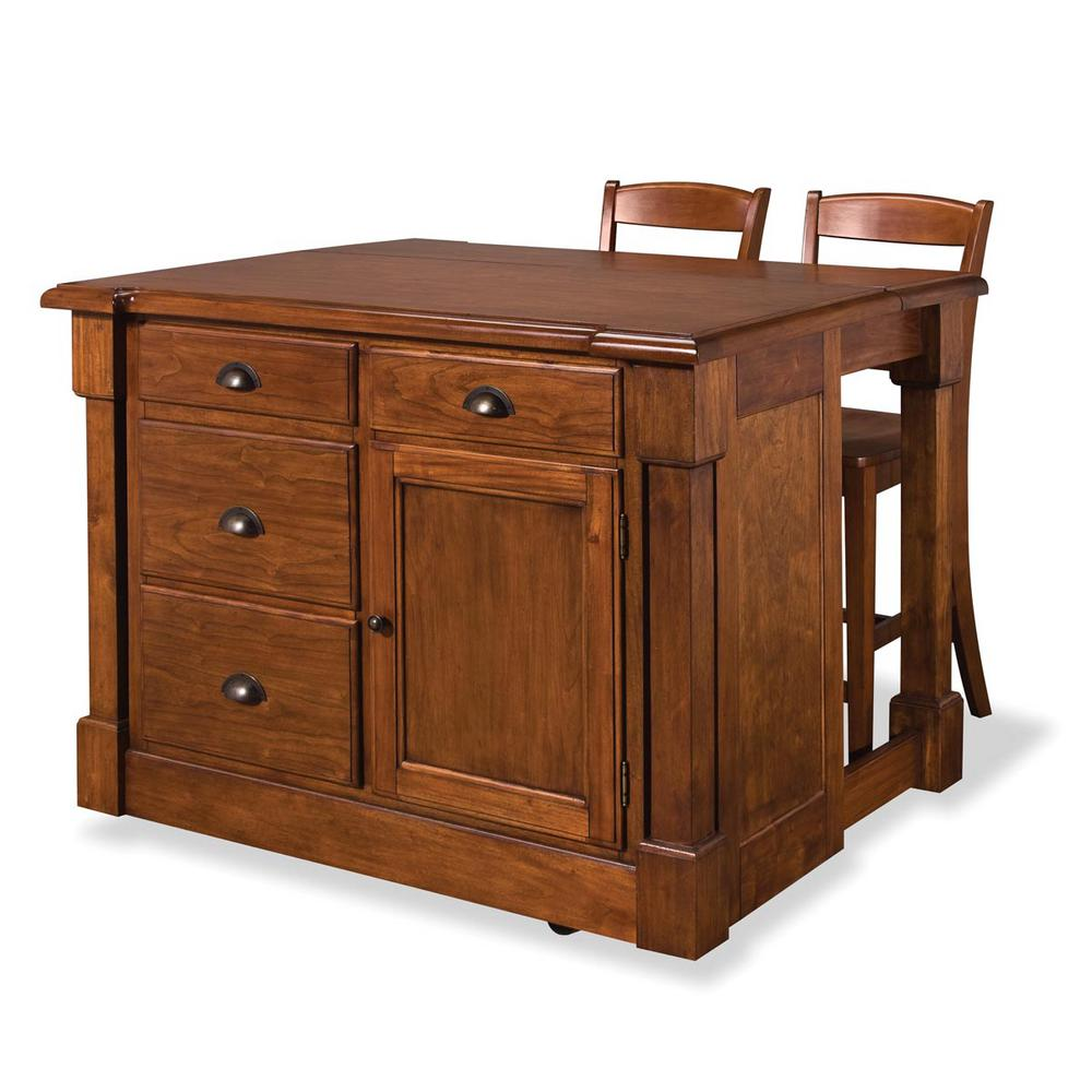 HOMESTYLES Aspen Rustic Cherry Kitchen Island With Seating ...