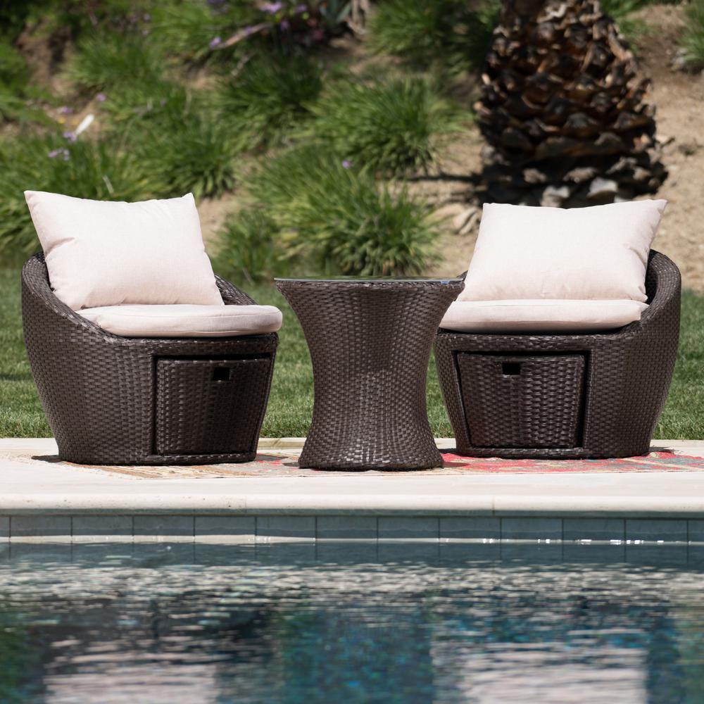 3-Piece Wicker Patio Conversation Set with Textured Beige Cushions