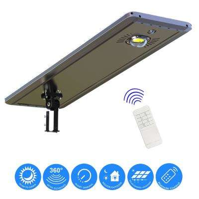 30-Watt Gray Solar Ultra Powerful Motion Activated Outdoor Integrated LED Path Walkway Area Light