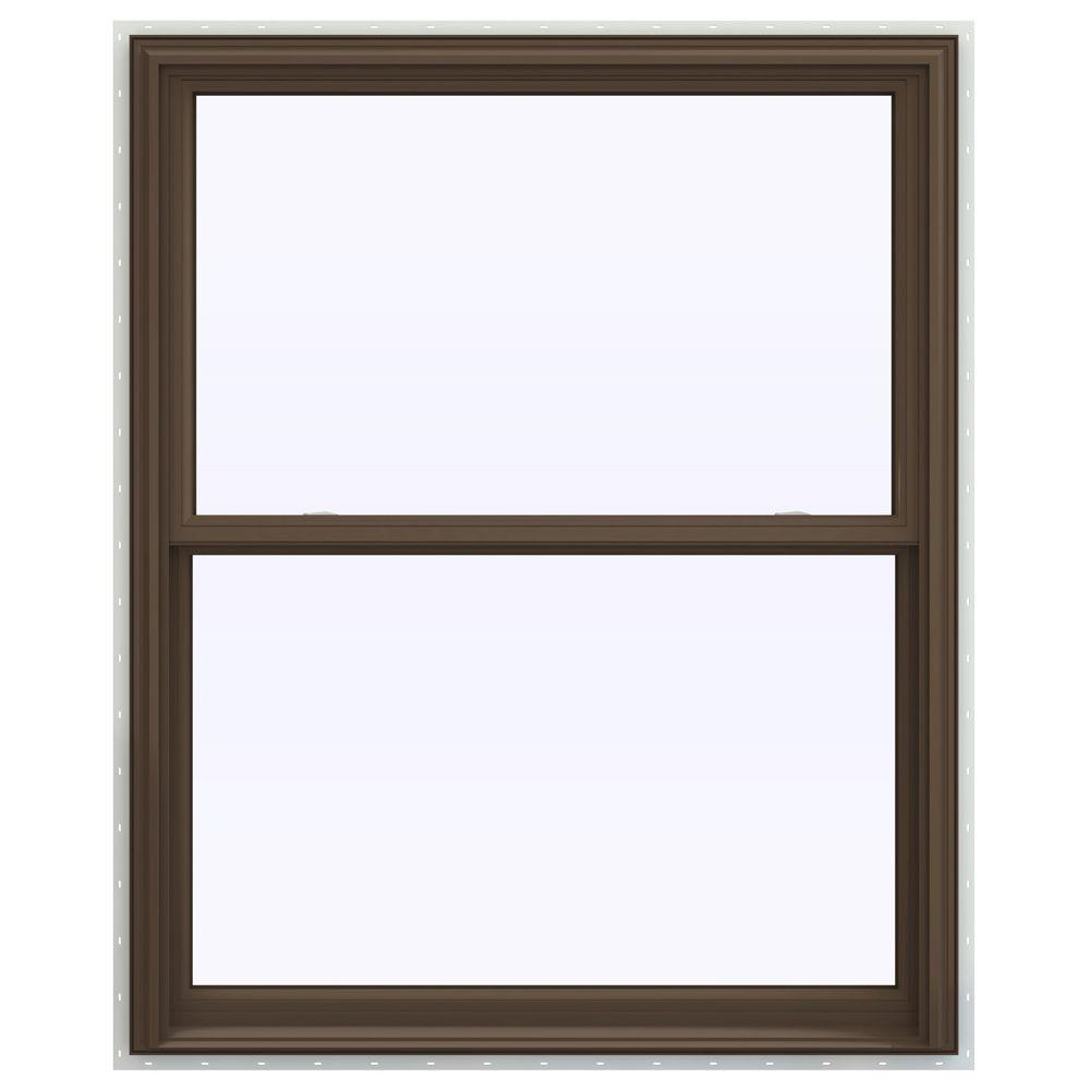 jeld wen 43 5 in x 53 5 in v 2500 series double hung vinyl window brown thdjw144401144 the. Black Bedroom Furniture Sets. Home Design Ideas