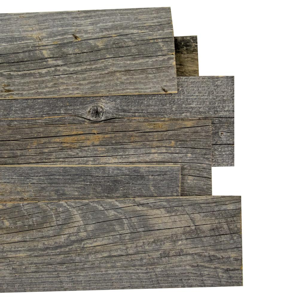 Reborn 1/4 in. x 5 in. Snow - Weathered 100% Reclaimed Wood Wall Paneling (20 sq. ft./box)