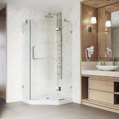 Piedmont 38 in. x 76 in. Frameless Neo-Angle Hinged Shower Door in Brushed Nickel Hardware with Low-Profile Base
