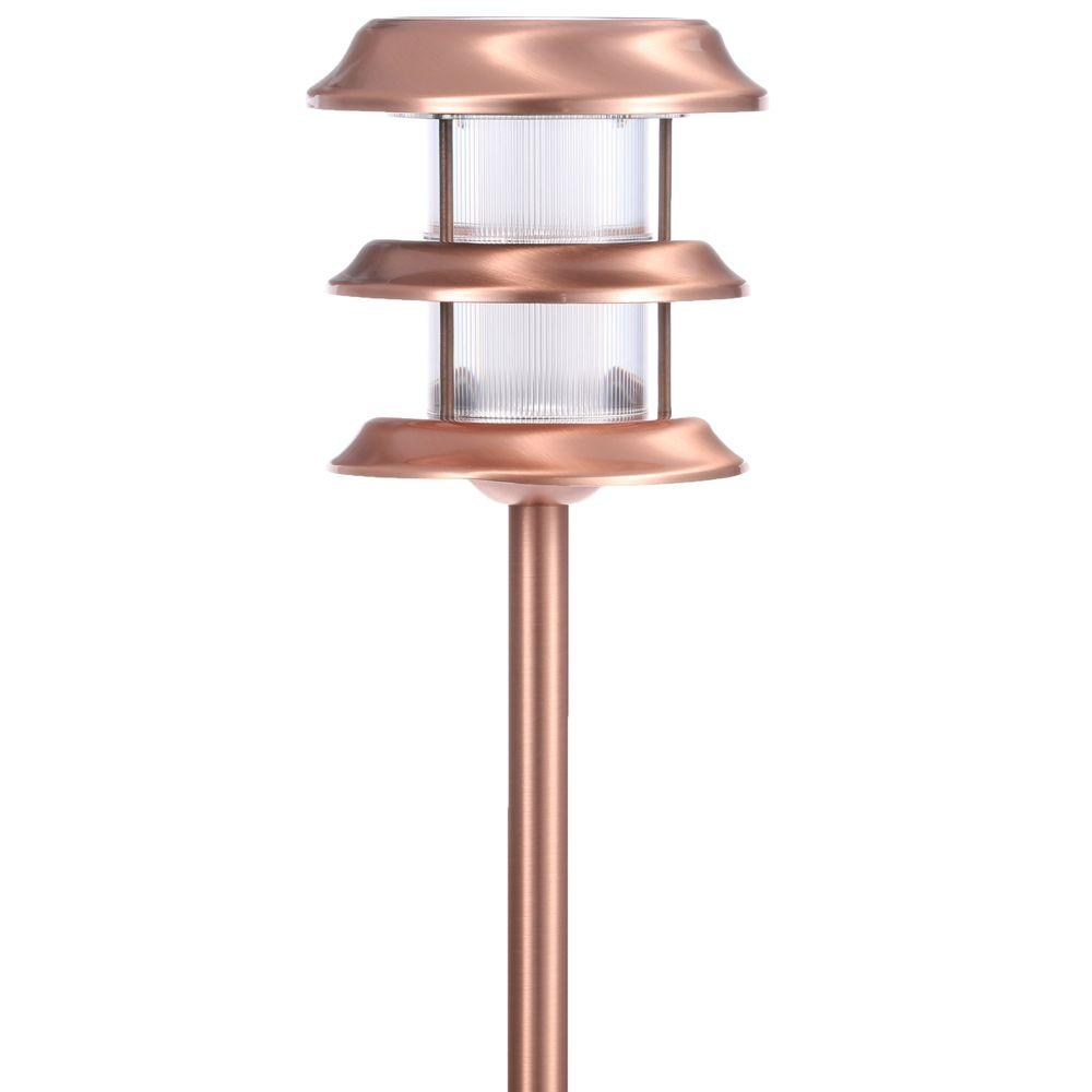 Hampton bay solar copper outdoor integrated led ground for Led yard lights