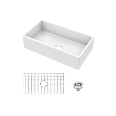 Fireclay 30 in. Single Bowl Apron-Front Farmhouse Kitchen Sink with Grid and Drain Assembly