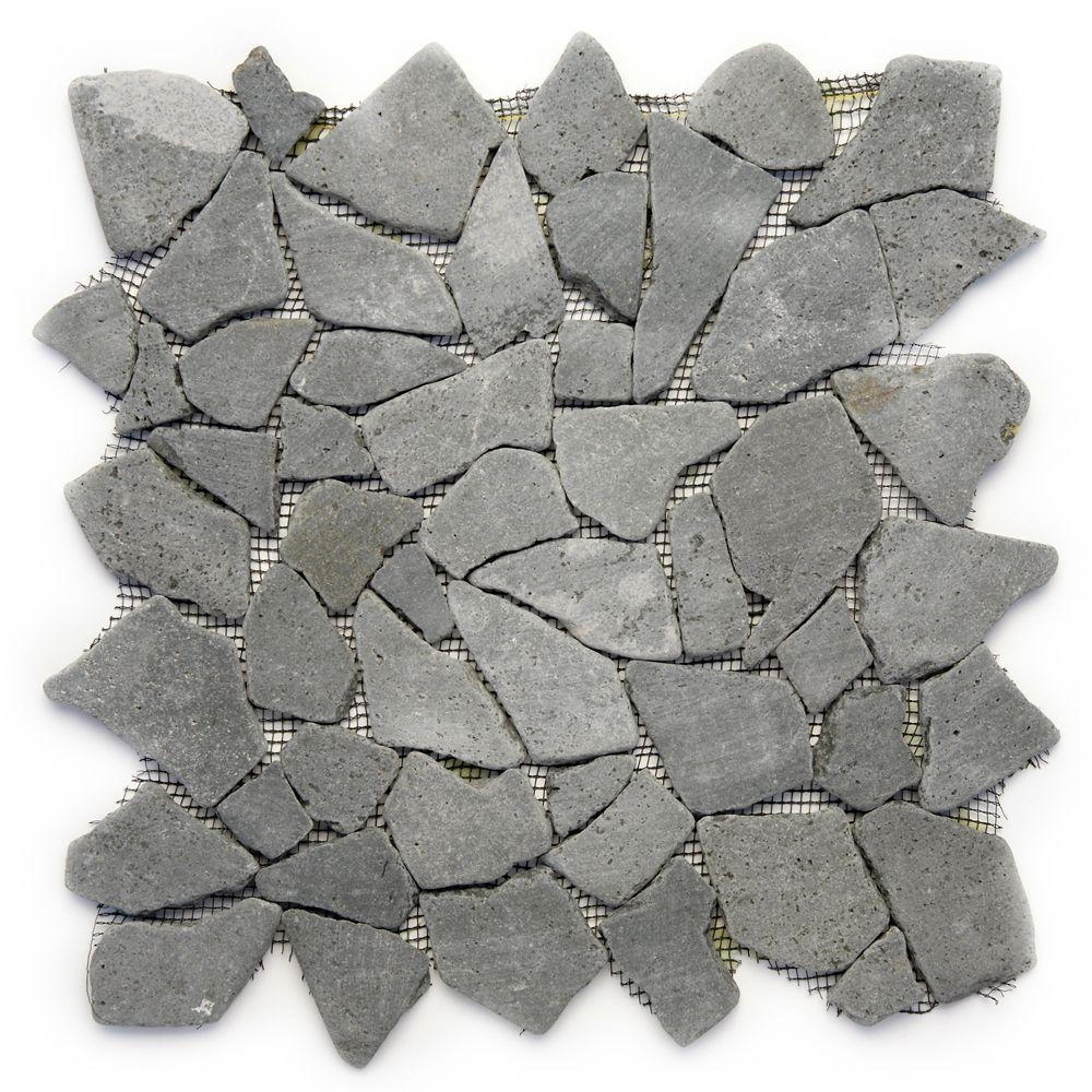 Solistone Indonesian Java Black 12 in. x 12 in. x 6.35 mm Natural Stone Pebble Mesh-Mounted Mosaic Tile (10 sq. ft. / case)