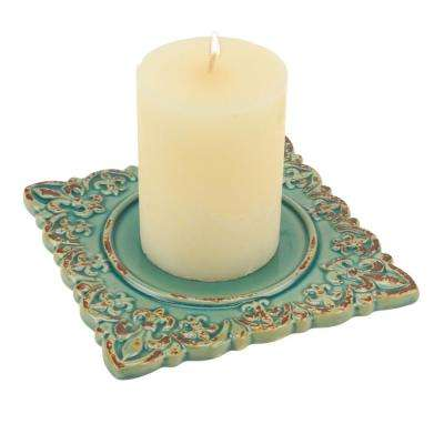 Worn Turquoise Fleur De Lis Ceramic Square Plate Candle Holder
