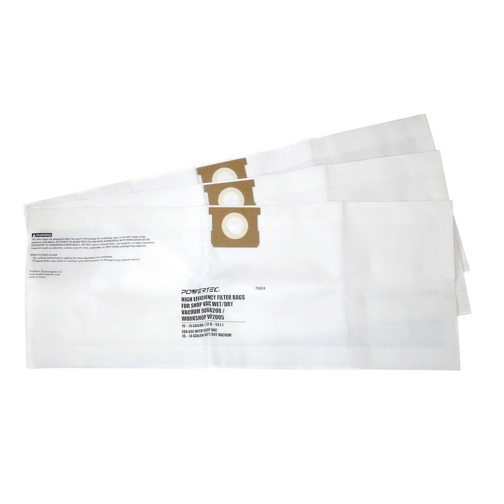 10 Gal. - 14 Gal. High Efficiency Filter Bags for Shop-Vac