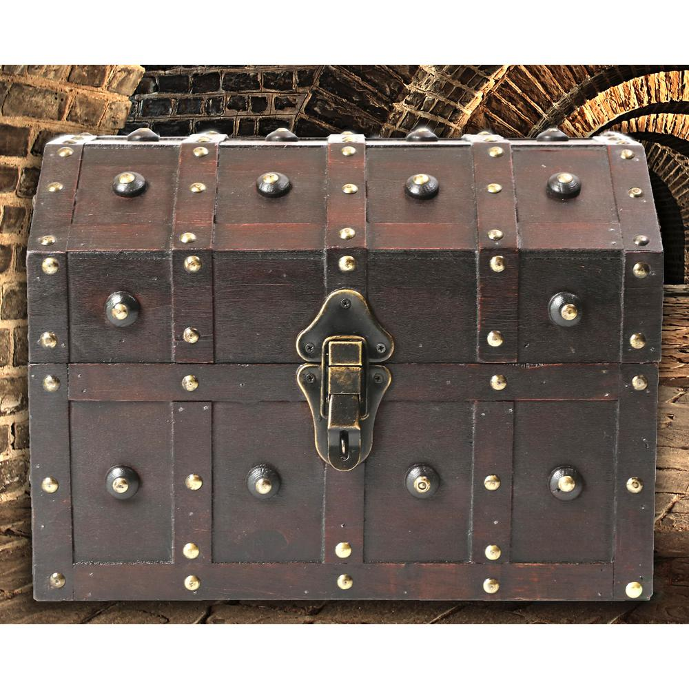 Vintiquewise Black Vintage Caribbean Pirate Chest With Decorative Nailed  Design