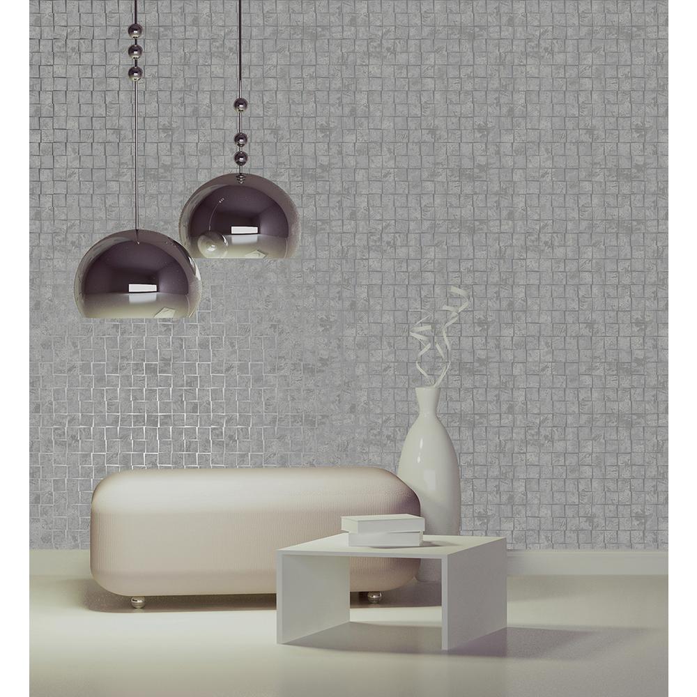 Brewster Dagmar Silver Medium Squares Wallpaper by Brewster