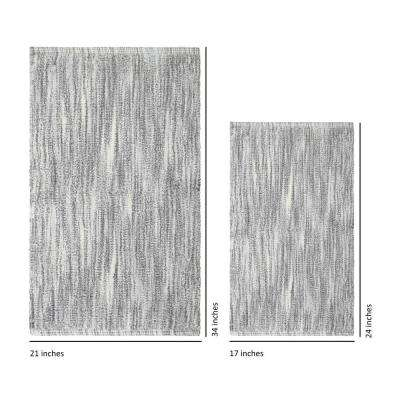 Taylor Reversible Cotton Slub 17 in. x 24 in. or 21 in. x 34 in. 2-Piece Bath Rug Set in Light Grey