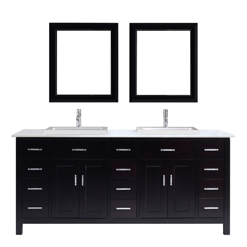 Studio Bathe Kelly 75 in. Vanity in Espresso with Solid Surface Marble Vanity Top in Carrara White and Mirror