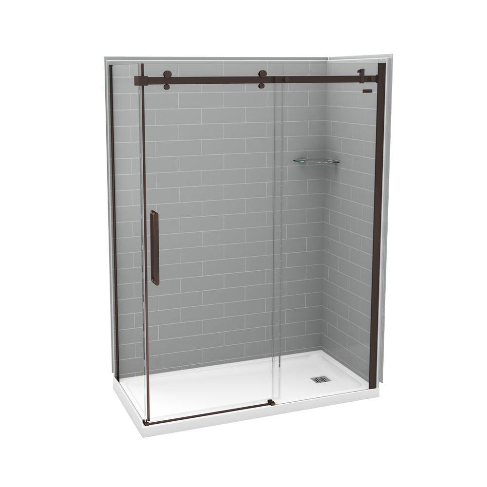 MAAX Utile Metro 32 in. x 60 in. x 83.5 in. Right Drain Corner Shower Kit in Ash Grey with Dark Bronze Shower Door