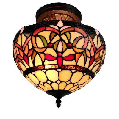 2-Light Tiffany Style Pendant with Glass Shade