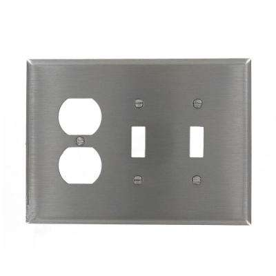 3-Gang Jumbo Size 2-Toggles 1-Duplex Receptacle Combination Wall Plate, Stainless Steel