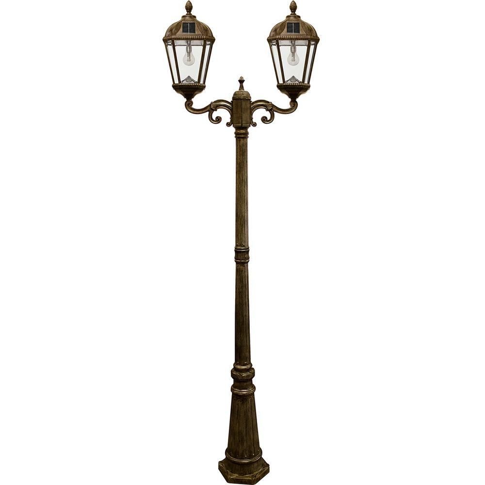 Royal Bulb Series 2-Head Weathered Bronze Integrated LED Outdoor Solar Lamp