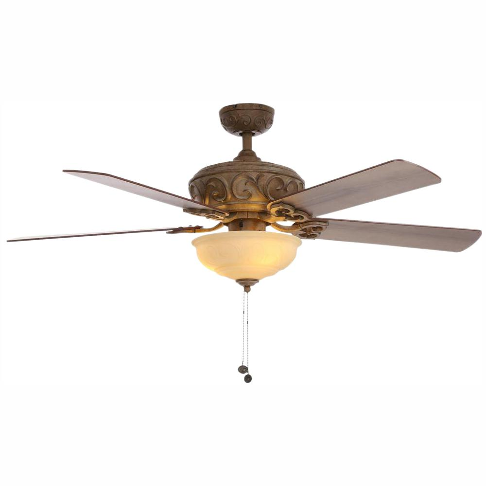 Hampton Bay Palisades 52 in. LED Indoor Tuscan Bisque Ceiling Fan with Light Kit