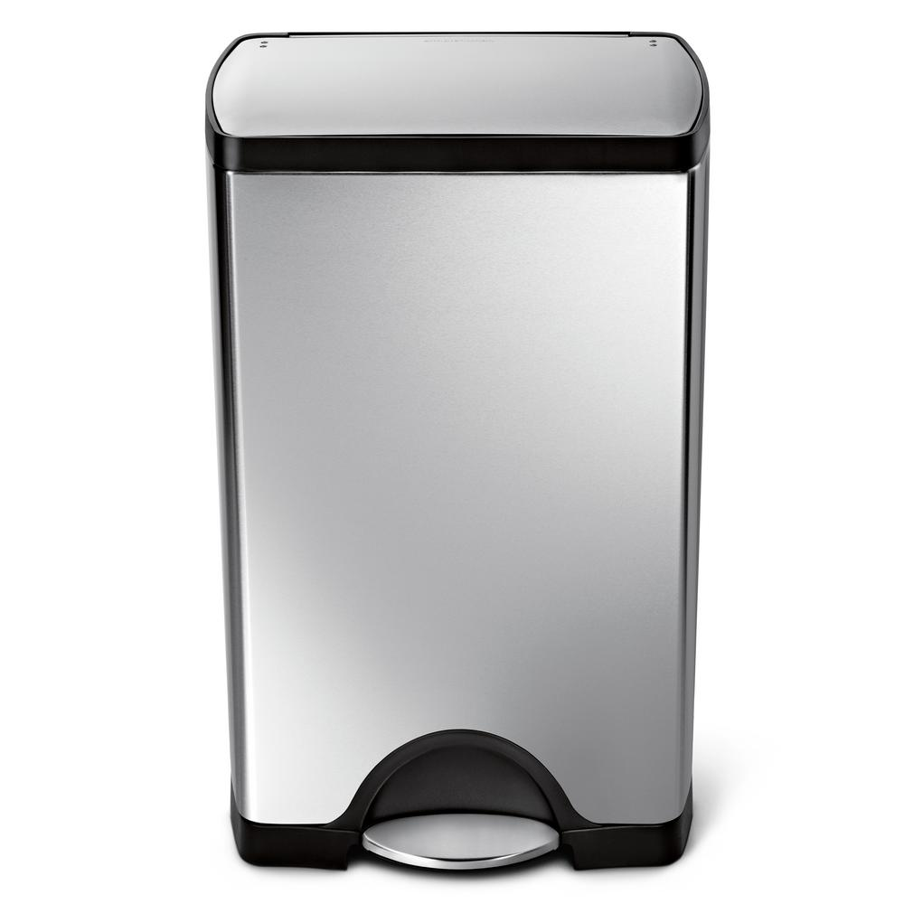 Stainless Steel Kitchen Garbage Can: Simplehuman 38-Liter Fingerprint-Proof Brushed Stainless