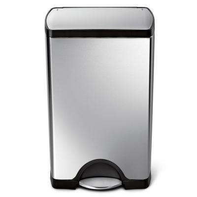 38-Liter Fingerprint-Proof Brushed Stainless Steel Rectangular Step-On Trash Can