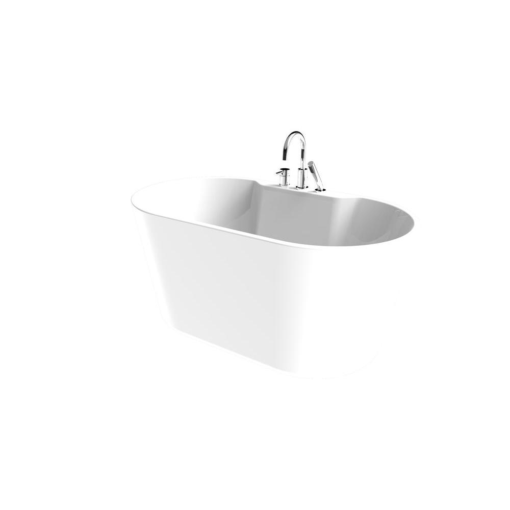 Renwil Coral 56 In. Acrylic Freestanding Flatbottom Non Whirlpool Bathtub In  White All In One Kit 151000   The Home Depot