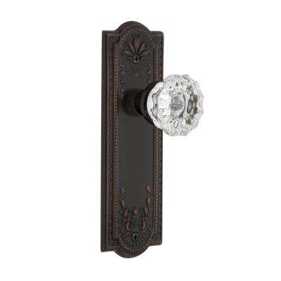 Meadows Plate 2-3/4 in. Backset Timeless Bronze Privacy Crystal Glass Door Knob