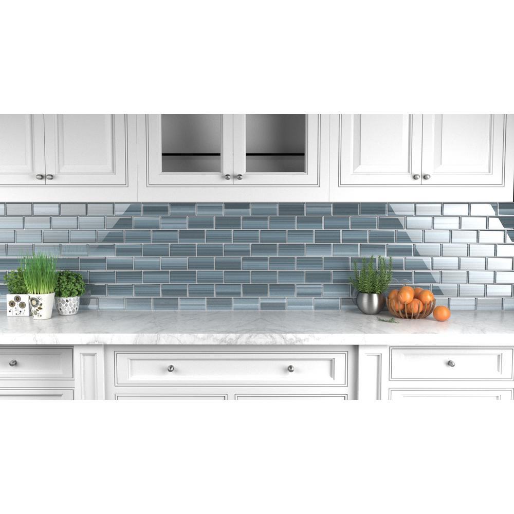 - Bodesi Deep Ocean Glass Tile For Kitchen Backsplash And Showers (3