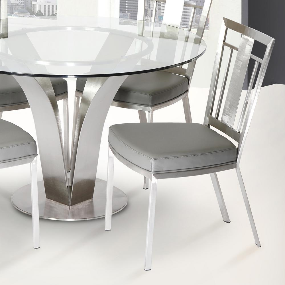 Etonnant Gray Fabric And Brushed Stainless Steel Finish Contemporary Dining Chair