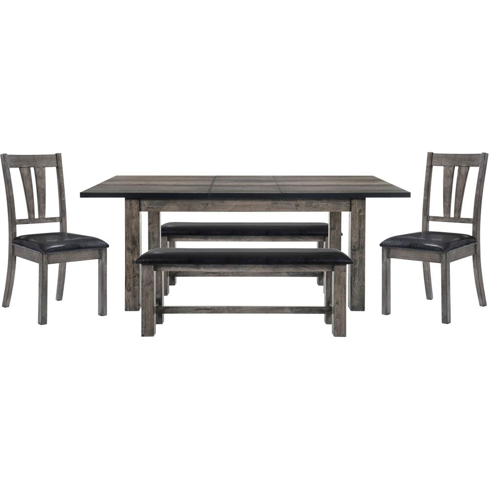 Weathered Gray Set Table Side Chairs Benches Weathered
