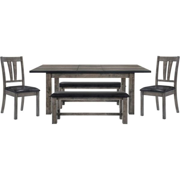 Cambridge Drexel 5 Piece Weathered Gray Dining Set Table 2 Side Chairs And 2 Benches 99001 Pu5pc2 Wg The Home Depot