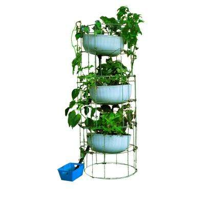 Medicinal Herb Tower 12 in. x 55 in. Antique Green Steel Mesh Planter