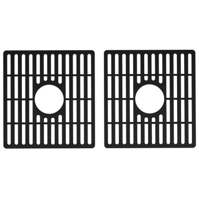 13.75 in. x 14.75 in. Silicone Double Bowl Kitchen Sink Bottom Grid in Matte Black