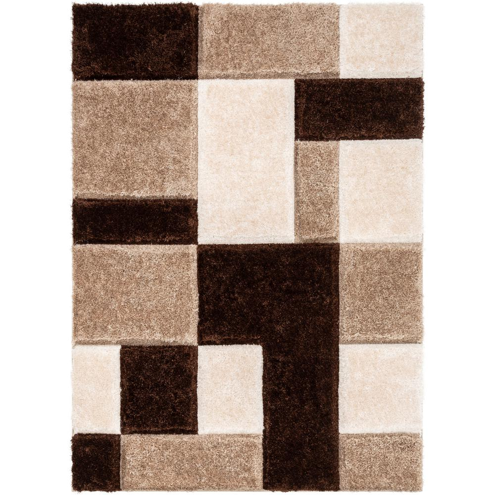 Well Woven San Francisco Escondido Brown Modern Geometric Squares 7 Ft 10 In X 9 Ft 10 In 3d Carved Shag Area Rug Sf 67 7 The Home Depot