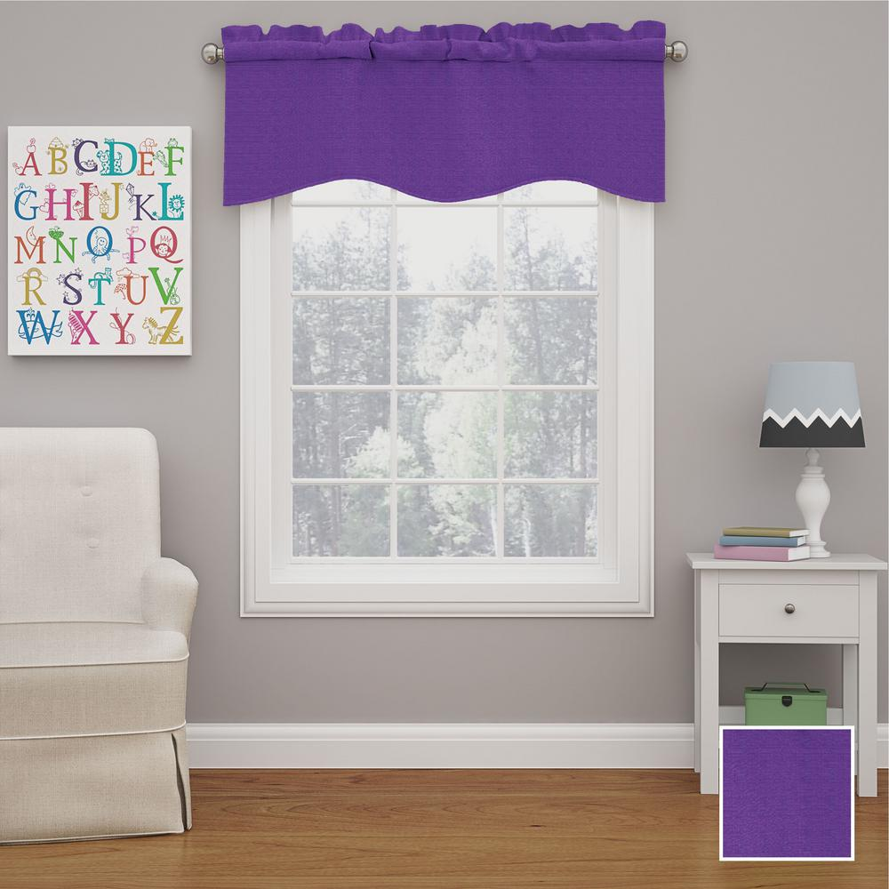 Kendall 18 in. L Polyester Rod Pocket Valance in Purple (1-Pack)