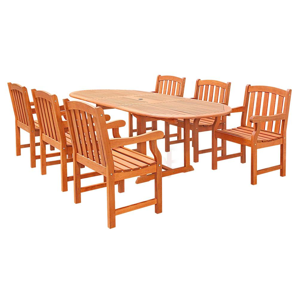 Vifah malibu 7 piece wood oval outdoor dining set for Stahlwandbecken oval set