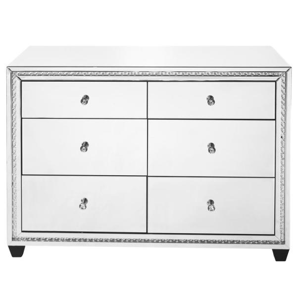 Timeless Home 6-Drawer in Clear Mirror Storage Cabinet 33.5 in. H x 47 in. W x 20 in. D