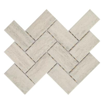 Stonehollow 14 in. x 12 in. x 6.35mm Mist Ceramic Herringbone Mosaic Floor and Wall Tile (0.67 sq. ft. / piece)