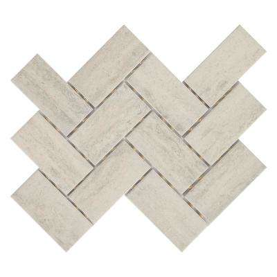 Stonehollow Mist 12 in. x 14 in. x 6.35mm Ceramic Herringbone Mosaic Floor and Wall Tile (0.67 sq. ft. / piece)
